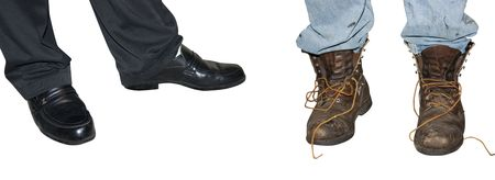 Dressy Shoes in contrast to grungy boots Stock Photo