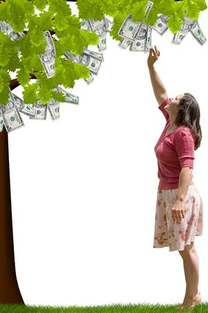 a lady reaching up to pick money from a tree Stock Photo - 1148174