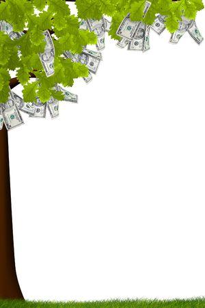 Een boom met geld groeit op