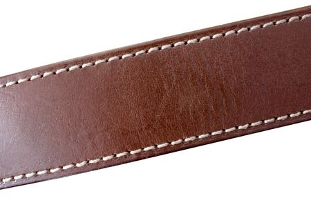 leather belt: a stitched leather belt on white