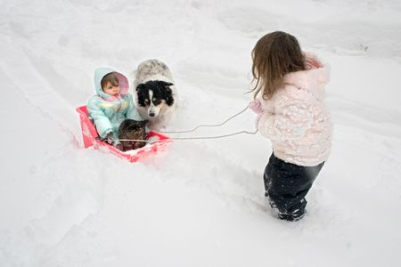 a big sister pulling her little sister in a sled photo