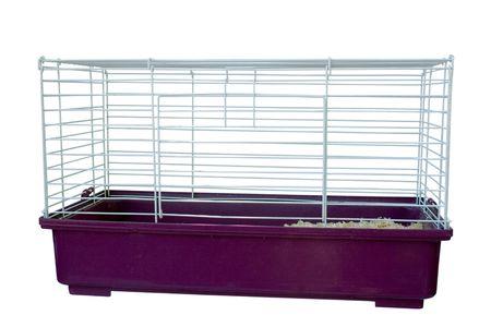 een kooi voor kleine huisdieren geïsoleerd op wit Stockfoto
