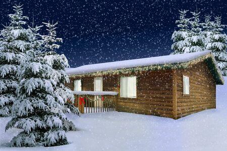 pijnbomen bedekt met vallende sneeuw Stockfoto