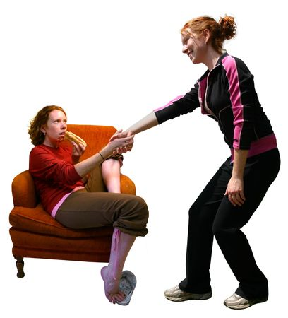 a girl helping herself up to excercise