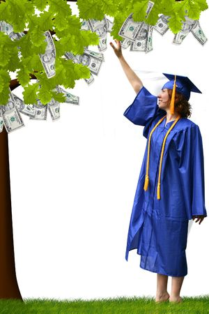savings goals: a lady reaching up to pick money from a tree