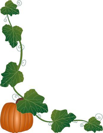 een illustratie van een pompoen en wijnstokken frame