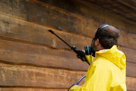 house siding: a man wearing a respiratore while he sprays some siding