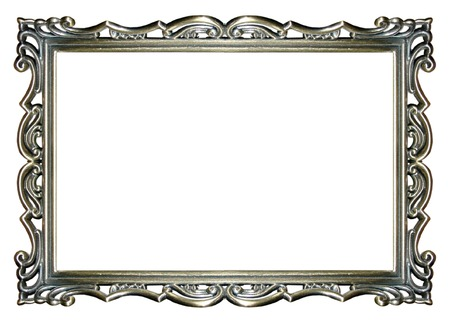 rectangle frame: an empty ornate silver picture frame