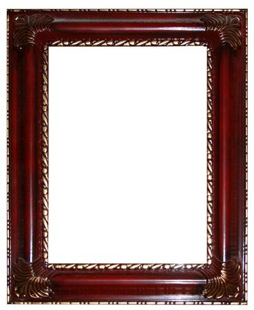 emptiness: an ornate gold and cherry picture frame