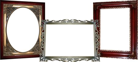 Three ornate wooden and metal frames