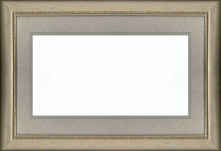 a gold frame with gray toned mat board 写真素材