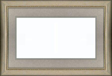 een gouden frame met grijs afgezwakt mat boord Stockfoto