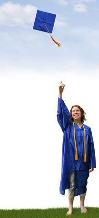 strive: a graduate tossing a hat into the air