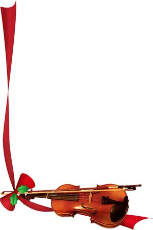 a violin tied with an illustrated red ribbon
