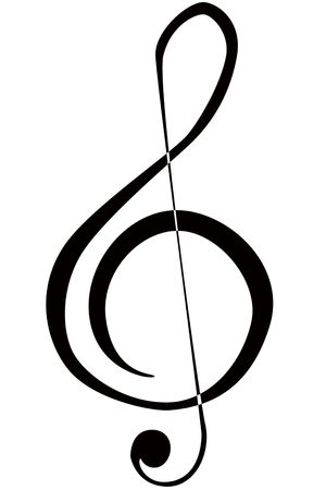 sheet music: an illustration of a musical treble clef symbol