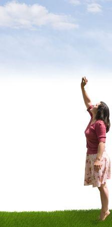 Een dame bereiken op weg naar de wolken