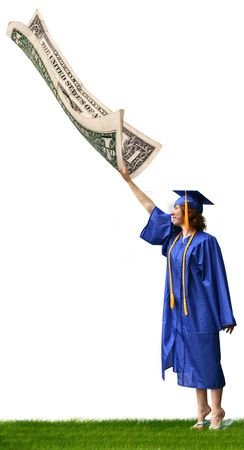 a graduate reaching for a dollar bill that is flying away Stock Photo