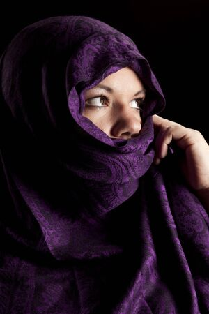 burka: a young lady with a shawl wrapped around her face
