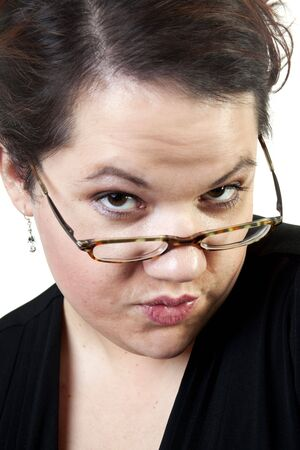een chubby meisje kissing maximaal de camera Stockfoto