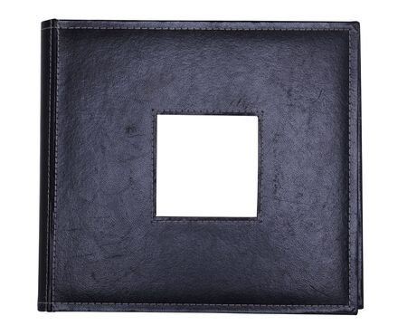 photo album: a black leather photo album with photo insert Stock Photo