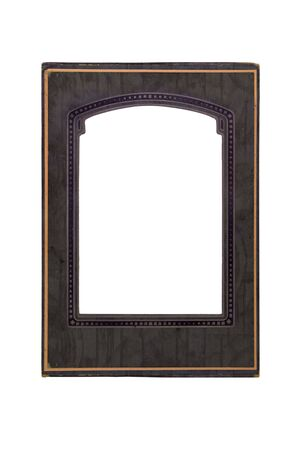 blank center: an old photo frame isolated on white with a blank center Stock Photo
