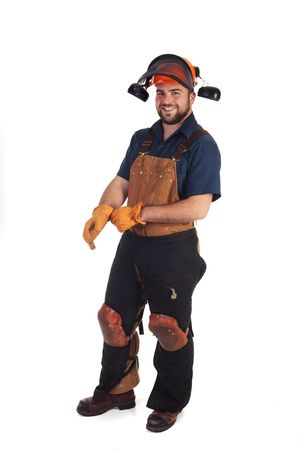 a construction worker in his safety gear isolated Stock Photo - 6429823