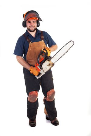 a man holding a chainsaw isolated on a white background