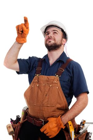 a construction worker pointing up at something isolated Stock Photo - 6429826