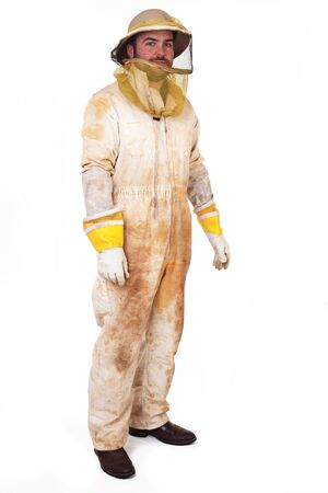 a beekeeper dressed up in his gear isolated