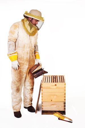 pry: an isolated beekeeper in protection gear smoking a hive Stock Photo