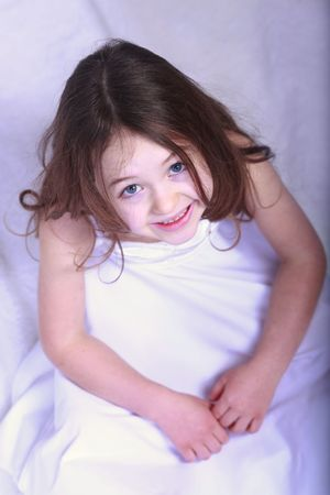 a beautiful little girl with bright blue eyes Stock Photo - 6443037
