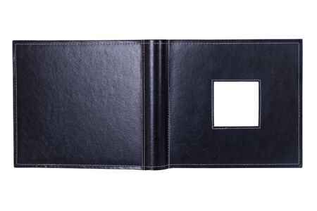 an open photo album with an empty insert Stock Photo