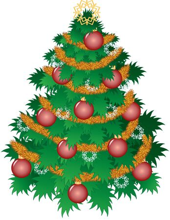 decorated christmas tree: an illustration of a decorated Christmas tree Illustration