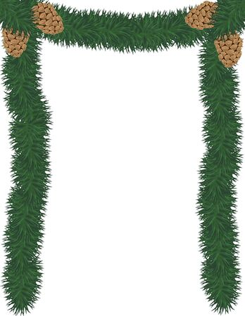 an illustration of a garland and pinecone frame Illustration