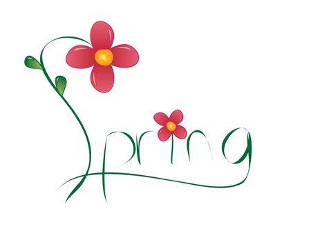 """꽃과 철자가 단어 """"봄""""의 일러스트 레이션"""
