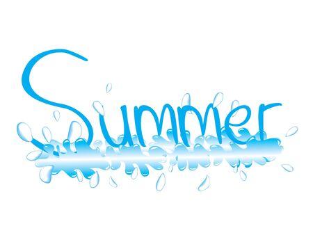 그리고 단어 여름 튀는 그림 일러스트