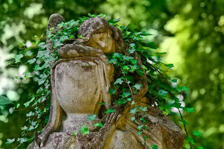 sculpture sleeping angel, polish cemetery in Lviv
