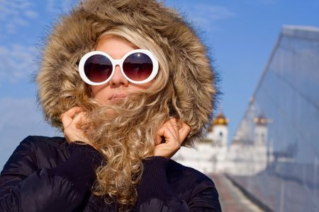 Beautiful girl with curly hair in white sun glasses Stock Photo - 3632191