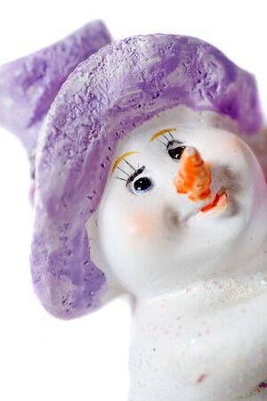 head close up: Plastic snow man head close up on white background