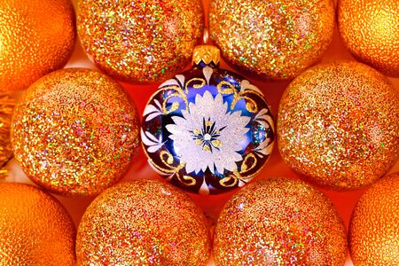 newyear: Colorful new-year tree decoration balls Stock Photo