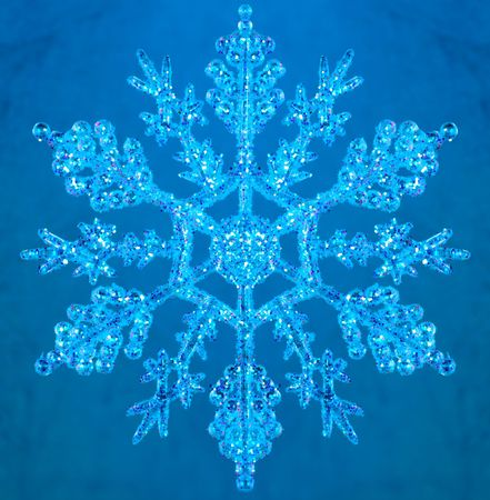 newyear: Snowflake new-year decoration on blue background