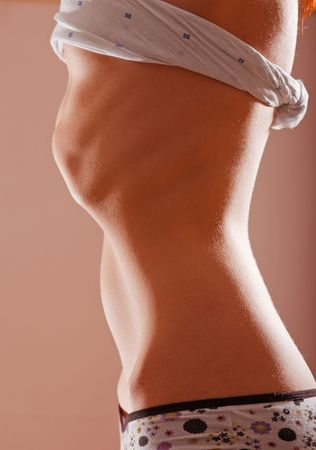 anorexia girl: Young girl slim stomach profile