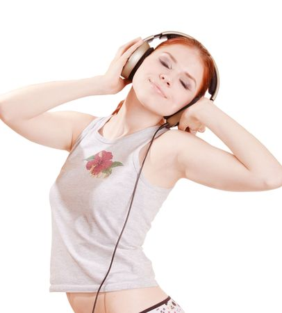 Young pretty girl listening to music