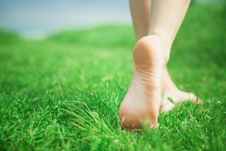 Woman legs walking on green grass Stock Photo