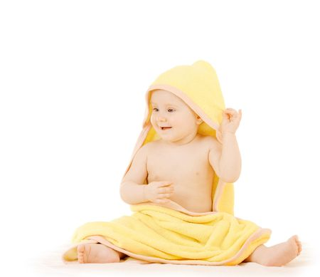 hand towel: Baby in a yellow towel on white background Stock Photo