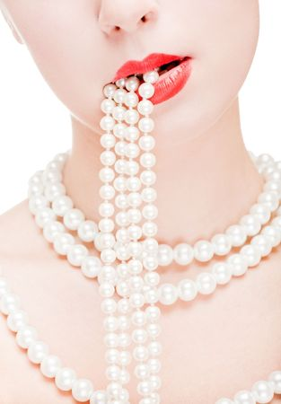 Girl with red lips wearing pear necklace Stock Photo