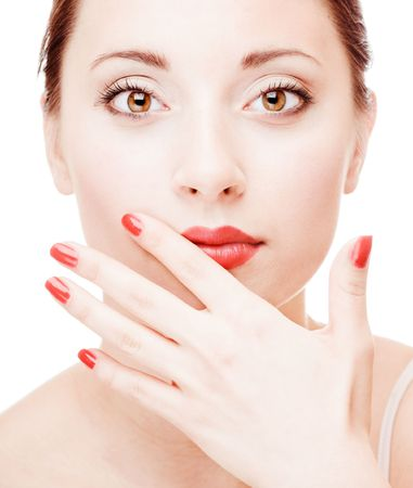 Young pretty girl with open hand portrait