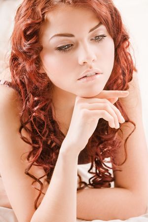 red head: Young pretty girl with red hair