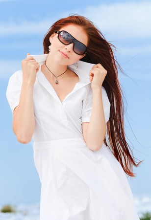 Pretty young girl in a white dress Stock Photo