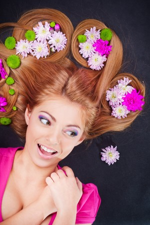 Young pretty girl with blonde hair portrait Stock Photo